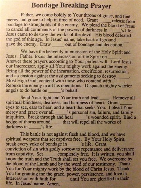 Spiritual Warfare Bondage Breaking Prayer