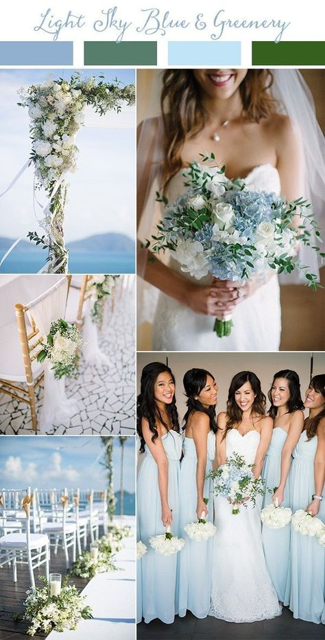 light sky blue and greenery wedding color ideas for spring and summer 2019 colors blue Wedding Trends-Top 10 Wedding Colors Ideas for 2019 - EmmaLovesWeddings