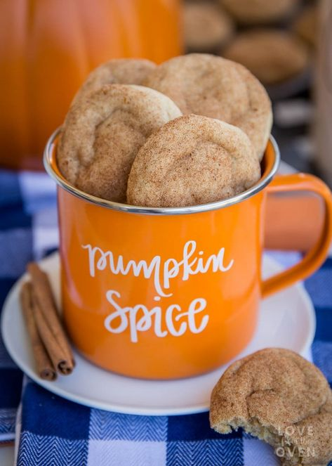 The Best Chewy Pumpkin Snickerdoodles Cookies - Love From The Oven