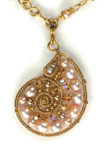 Barb Switzer wirewrapped nautilus.