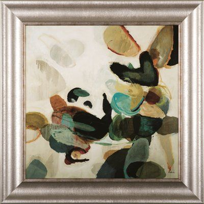 Art effects stone pattern i wall art dots in shades of blue green yellow orange and brown look like scattered pebbles in the abstract composition