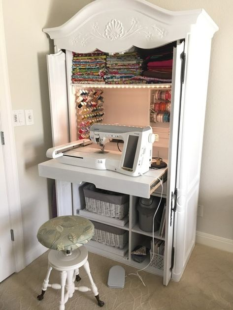 A DIY Sewing Cabinet From An Old Media Armoire makes a perfect small sewing spac. - A DIY Sewing Cabinet From An Old Media Armoire makes a perfect small sewing space.