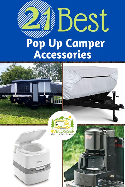 Looking for just the right Accessories for your Popup Camper? Our list of the 21 Best Popup Camper Accessories covers everything from outside showers to A/C Coleman Pop Up Campers, Best Pop Up Campers, Jayco Pop Up Campers, Airstream Campers, Small Campers, Tent Trailer Camping, Pop Up Tent Trailer, Camping Hammock, Kayak Camping