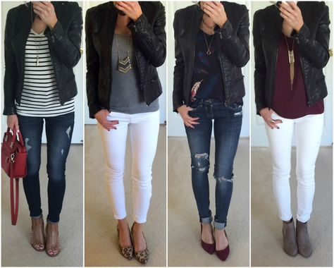 Black and Beige Moto Jacket Outfit Roundup
