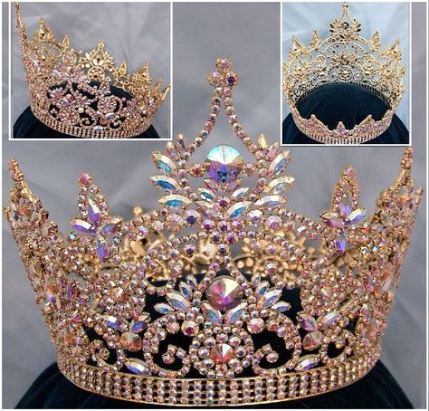 Continental Full Gold Aurora Borealis Rhinestone Crown - CrownDesigners