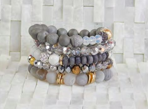 onyx stone stackable bracelet leslie jan products black in by square