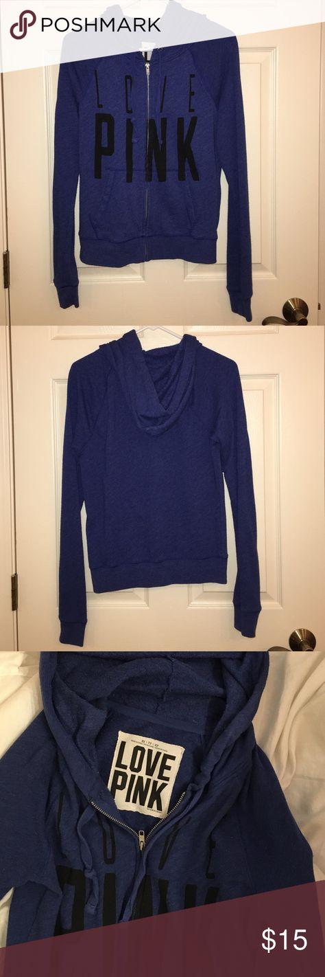VS Pink blue/purple zip up hoodie size xs Blue Victoria's Secret Pink xs zip up hoodie soft and comfy gently worn PINK Victoria's Secret Sweaters
