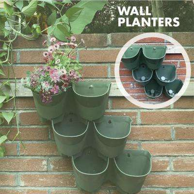 2 Pockets Olive Green Plastic Self Watering Vertical Garden Wall Planters 3 Pack In 2020 Vertical Garden Wall Planter Vertical Garden Planters Vertical Garden Wall