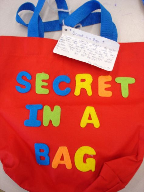 """Show and tell in kindergarten: """"Secret in a Bag."""" Each day a student takes the bag home, chooses an object to """"hide"""" inside, and writes three clues about it. The next day, they return the bag and share their clues to see if the class can guess what it is!"""