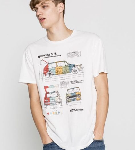 "The Volkswagen Golf GTI is without a doubt a legend. It started the ""hot hatch"" craze that lives on through today. This colorful Golf GTI blueprint t-shirt is from Pull & Bear and it's fantastic."