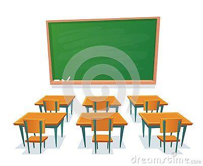 School Chalkboard And Desks Empty Blackboard Classroom Wooden Desk And Chair Isolated Cartoon Vector Illustrati Wooden Desk School Chalkboard Cartoons Vector