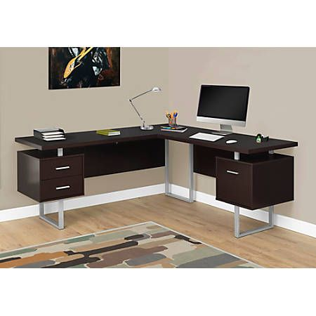 Monarch Specialties L Shaped Corner Computer Desk With 2 Drawers
