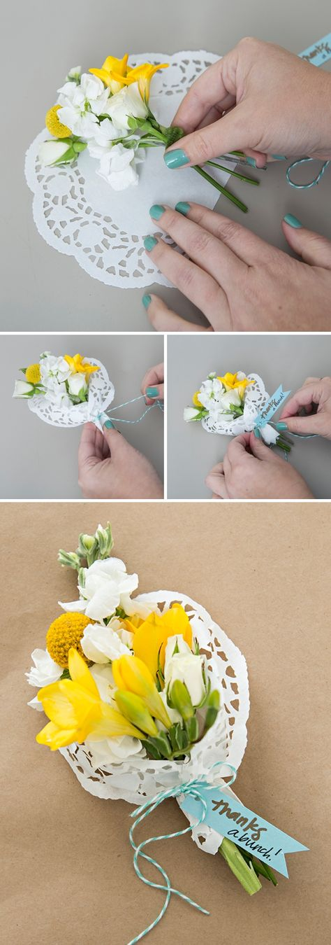 Make your own mini bouquets as seating cards or favors! - - Make your own mini bouquets as seating cards or favors! Make your own mini bouquets as seating cards or favors! Flower Crafts, Diy Flowers, Paper Flowers, Fabric Flowers, Doilies Crafts, Paper Doilies, Diy And Crafts, Crafts For Kids, Paper Crafts