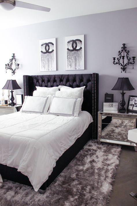 Schwarz-Weiß-Schlafzimmer Dekor Ideen #grau #coole ...