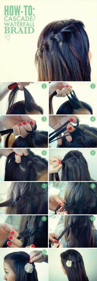 Cascade (waterfall) braid hairstyle