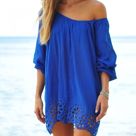 Blue Eyelet Off Shoulder Tunic Top Cover Up