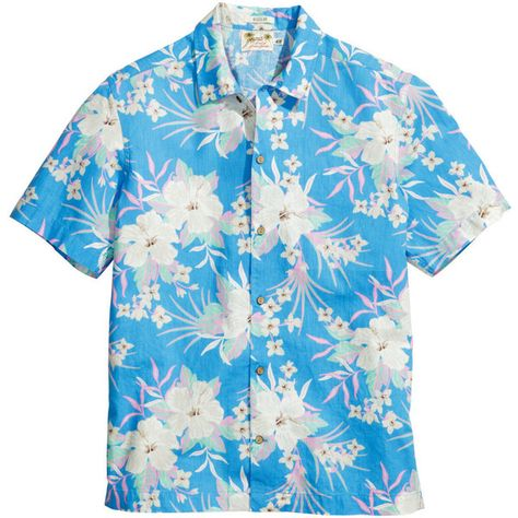 e8d76cbd H&M Linen-blend Hawaiian Shirt $15 ($15) ❤ liked on Polyvore featuring tops,  floral tops, floral shirt, hawaiian shirts, short shirts and short sleeve  ...
