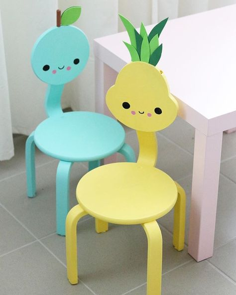 Fantastic Kids Chairs Apple And Pineapple Kawaii Decor Chair Design Creativecarmelina Interior Chair Design Creativecarmelinacom