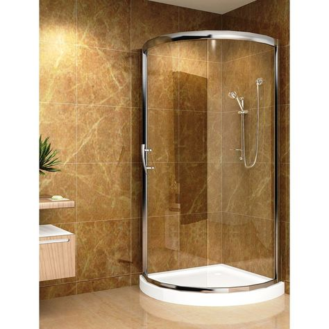 Aston 36 In X 36 In Semi Frameless Round Bypass Shower Enclosure In Chrome With Base Shower Enclosure Round Shower Enclosure Glass Shower Enclosures