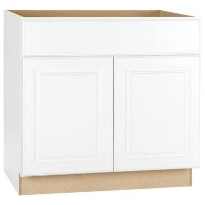 Hampton Base Cabinets In White Kitchen The Home Depot Home