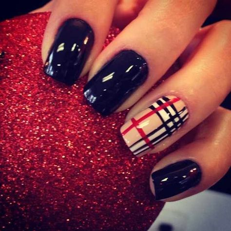 Burberry with Black - 39 Awesome Plaid Nail Art Designs for Your…