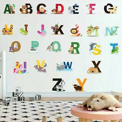26 Alphabet Animals Wall Sticker Vinyl Decal Baby Kids Boys Girls Nursery Decor