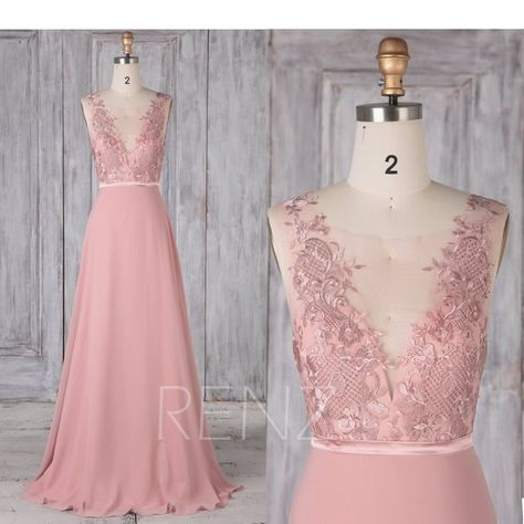 9a48a2f51e8 Bridesmaid Dress Dusty Rose Chiffon Dress