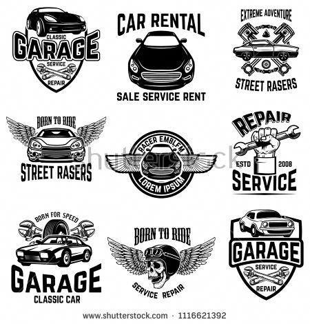 Car Repair Garage Auto Service Emblems Design Elements For Logo