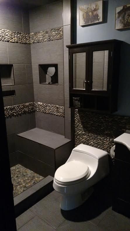 Wood Look Tile And Pebbles In Shower, Bench Seat Of Stone, Large Shower  Niches | Design By Rochelle Lynne Design, Cochrane, AB | Showers |  Pinterest | Large ...