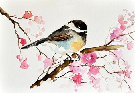 Original Peinture A L Aquarelle Oiseau Mesange Colore Fleurs
