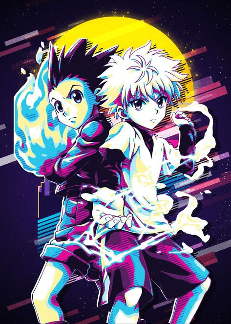 'Hunter X Hunter Retro' Metal Poster Print - Roni Aji Pratama | Displate