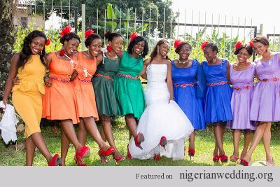 Multi Color Wedding Party Google Search Ideas For Pinterest Nigerian Weddings And Bridal Parties
