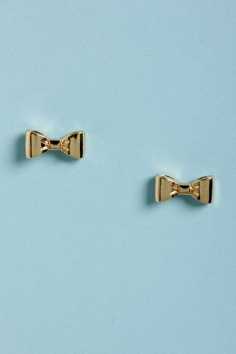 Darling Bow Earrings - Gold Earrings - Stud Earrings - $11.00