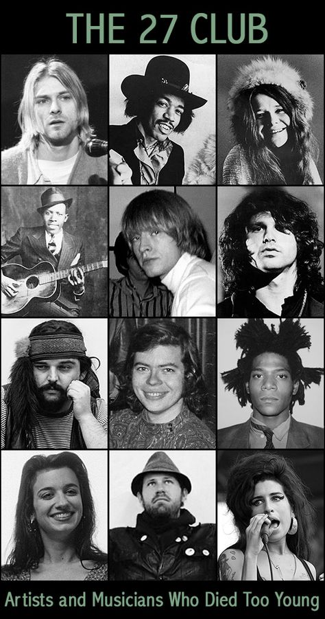 The 27 Club – A Tragic Tour of Famous People That Died Too Young - The 27 Club is an eerie coincidence of a group of musicians and artists that lost their lives at th - Rock Posters, Concert Posters, Famous Artists, Music Artists, Famous Musicians, Famous People That Died, Les Doors, Julie Andrews, Janis Joplin