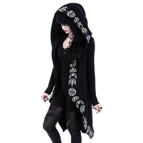 New Black Restyle Witchcraft Halloween Irregular Oversized Hooded Gothic Alternative Goth Cardigan Coat