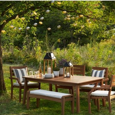 Chesapeake Wood 6 Person Patio Dining Table Light Brown