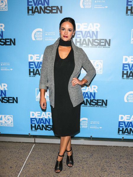 Melissa Fumero is seen arriving to the Los Angeles opening night performance of 'Dear Evan Hansen' at Ahmanson Theatre in Los Angeles.