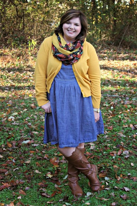 Walking Chambray and Scarf Throat- I like the denim and mustard color together