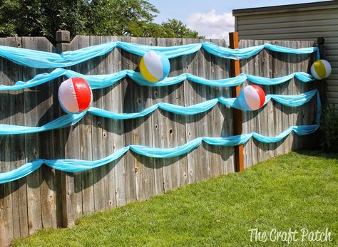 cute and easy decoration for a beach party or luau. it's a wave wall! – The Craft Patch cute and easy decoration for a beach party or luau. it's a wave wall! cute and easy decoration for a beach party or luau. it's a wave wall! Splash Party, Backyard Party Decorations, Backyard Parties, Diy Pool Party Ideas, Birthday Decorations, Beach Party Decor, Kids Beach Party, Party Fun, Beach Theme Parties