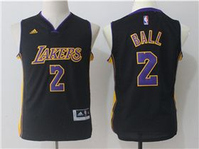 new arrivals 53747 36f67 Los Angeles Lakers #2 Lonzo Ball Youth Black Jersey | Cheap ...