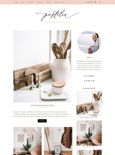 Pink Feminine Wordpress theme - Pastel Pink Wordpress Template - Genesis child theme - Blog Design - Pastelia