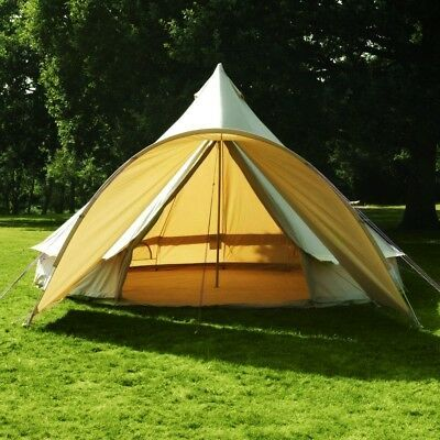 4 Season Waterproof Cotton Canvas Bell Tent Large Family Camp Hunting Yurt Tents Ebay In 2020 Canvas Bell Tent Tent Yurt Tent