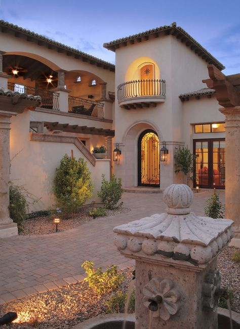 Mediterranean Homes Exterior, Mediterranean House Plans, Mediterranean Decor, Mediterranean Architecture, Tuscan Homes, Spanish Exterior, Spanish Architecture, Hacienda Style Homes, Spanish Style Homes