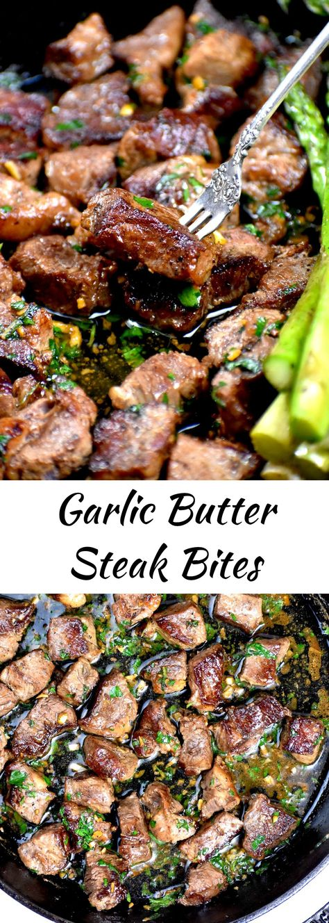 These garlic butter steak bites are a great Valentine's meal, but are so easy they make for a perfect weeknight dinner. Cook them up in only 15 minutes. They also make a great appetizer and are a tasty low carb keto recipe.