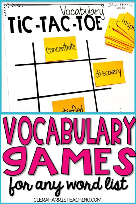 Vocabulary games for kids are a great way to engage students in any elementary classroom! Click the pin to check out these fun games for any word list, perfect for kindergarten, first grade, or even or grade. Vocabulary Games For Kids, Kindergarten Vocabulary, Vocabulary Instruction, Vocabulary Practice, Vocabulary Cards, Vocabulary Strategies, 4th Grade Vocabulary Words, Spelling Word Games, Spelling Activities