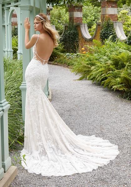 Morilee 2033 Perdita Open Back Lace Fit And Flare Wedding Dress