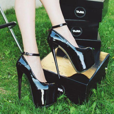 68a945de9 Ankle Strap Black Patent 20 cm High Heel Platform Shoes – Tajna Club