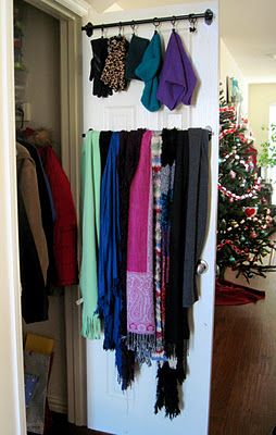 This is a really good idea if you have limited space.  Another pinner did this in their entry closet. Cafe curtain rods at Bed Bath & Beyond ($4.99 plus 20% off coupon) and a pack of clip rings ($5.99 plus 20% off). I LOVE IT!!!! Screwed it all in herself, easy peasy! Smart winter accessory organization for a coat closet, or for purses/handbags...
