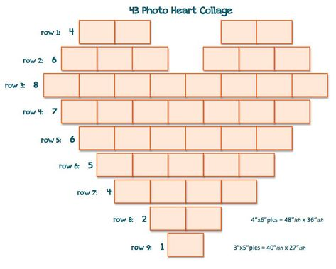 43 Photo Heart Collage -- I didn't see simple templates after a quick search so I created a couple of them. Hope this is helpful to others as well. ~m. #walldecorpicturescollage