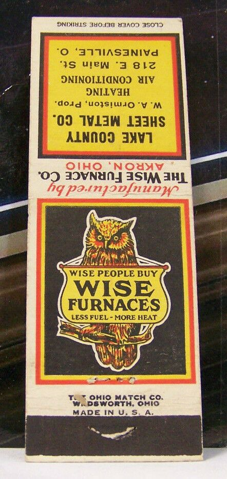 Rare Vintage Matchbook Cover B3 Painesville Ohio Wise Furnaces Owl Sheet Metal Matchbook Ohio Hotels Bucyrus Ohio